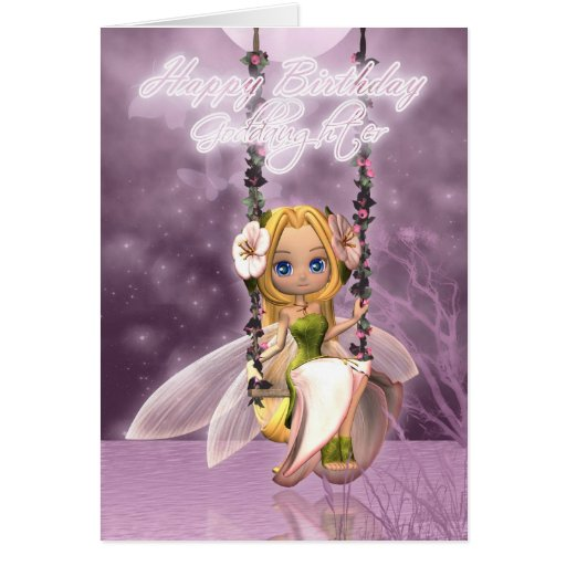 Goddaughter Happy Birthday cute fairy on flower sw Cards