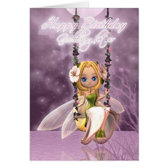 Goddaughter Happy Birthday cute fairy on flower sw