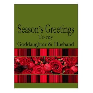 Goddaughter & husband Merry Christmas card Postcard