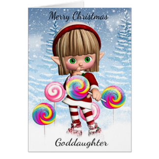 Goddaughter Little Elf With Candy Pops And Snow Card