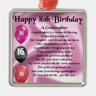 Goddaughter Poem - 16th Birthday Christmas Ornament
