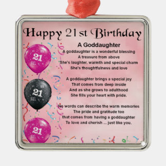Goddaughter Poem - 21st Birthday Design Christmas Ornament