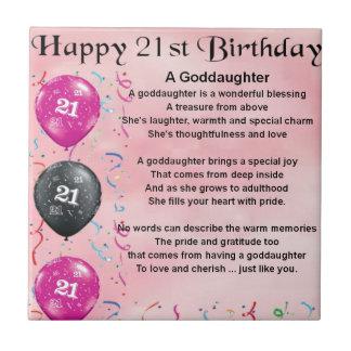 Goddaughter Poem - 21st Birthday Design Small Square Tile