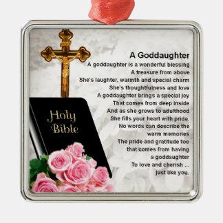 Goddaughter Poem - Bible & Flowers Design Silver-Colored Square Decoration