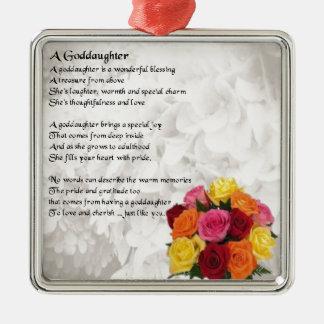 Goddaughter Poem - Flowers Design Christmas Ornament