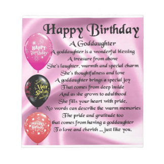 Goddaughter Poem - Happy Birthday Notepad