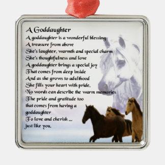 Goddaughter Poem - Horses Design Christmas Ornament