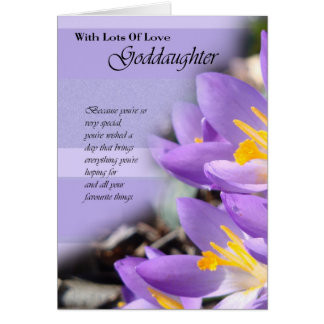 Goddaughter purple crocus Birthday Card