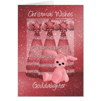 Goddaughter Sparkle Christmas Greeting Card Dusky