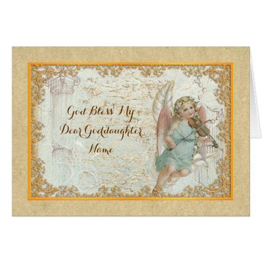 Goddaughter Vintage Art Angel Personalised Card