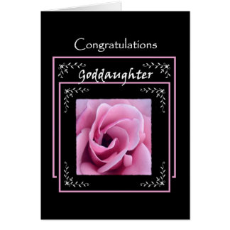 GODDAUGHTER Wedding Congratulations  Pink Rose Card