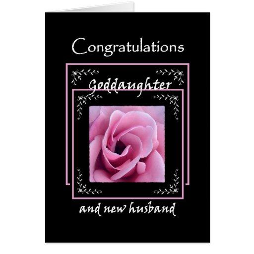 GODDAUGHTER Wedding Congratulations - Pink Rose Cards
