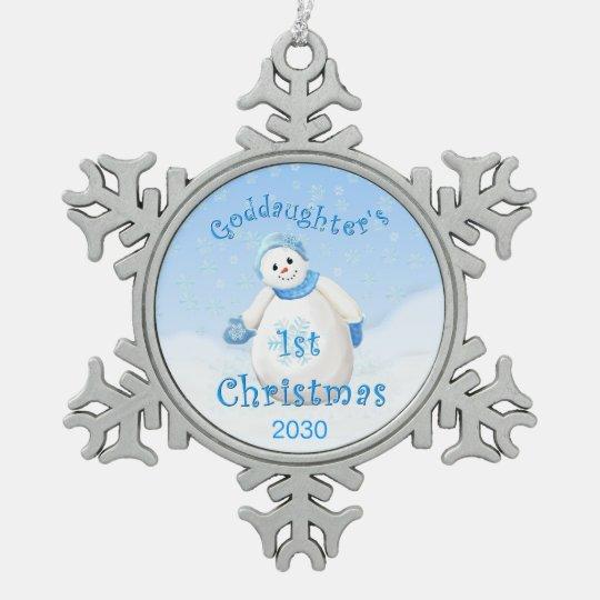 Goddaughter's 1st Christmas Keepsake Snowflake Pewter