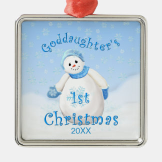 Goddaughter's 1st Christmas Snowman Ornament