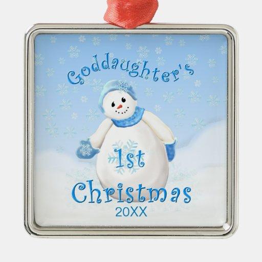 Goddaughter's 1st Christmas Snowman Ornament