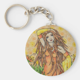 Goddess Basic Round Button Key Ring