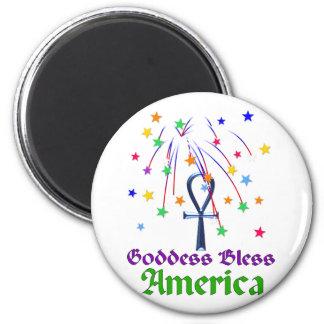 Goddess Bless America 6 Cm Round Magnet
