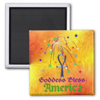 Goddess Bless America Square Magnet