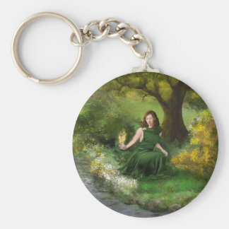 Goddess Brigid Basic Round Button Key Ring