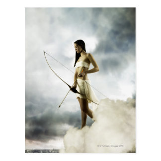 Goddess Diana with bow and arrow Postcard