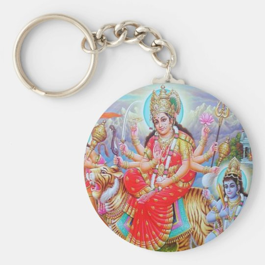 Goddess Durga Ji Basic Round Button Key Ring