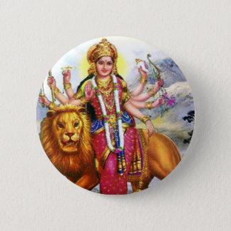 Goddess Durga with Lion 6 Cm Round Badge