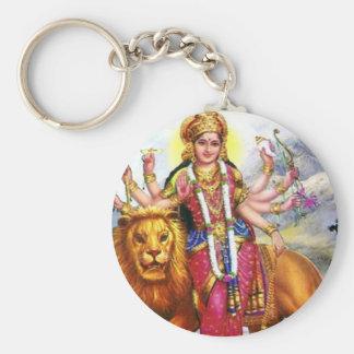 Goddess Durga with Lion Basic Round Button Key Ring