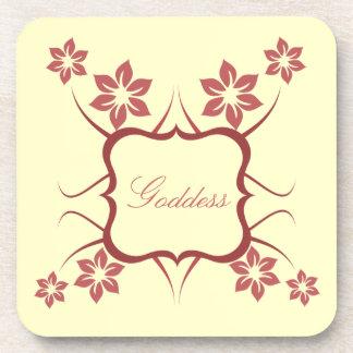 Goddess Floral Coaster Set Brick Red
