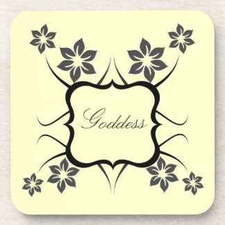 Goddess Floral Coaster Set Dark Gray