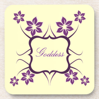 Goddess Floral Coaster Set Purple