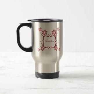 Goddess Floral Mug, Brick Red Stainless Steel Travel Mug