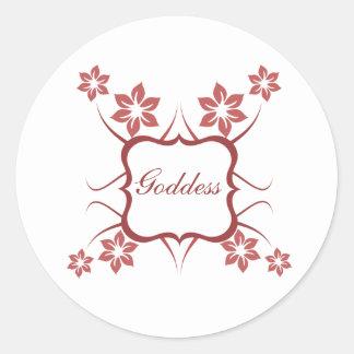 Goddess Floral Stickers, Brick Red Round Sticker