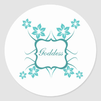 Goddess Floral Stickers, Turquoise Round Sticker