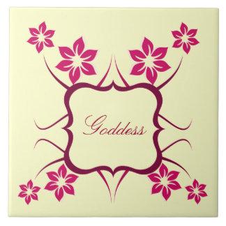 Goddess Floral Tile, Pink Large Square Tile