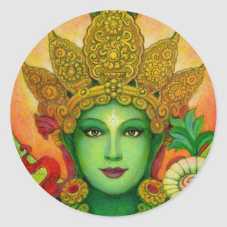 Goddess Green Tara's Face Classic Round Sticker