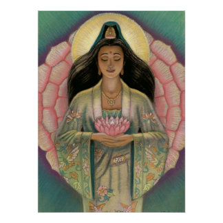 Goddess Kuan Yin Pink Lotus Heart poster