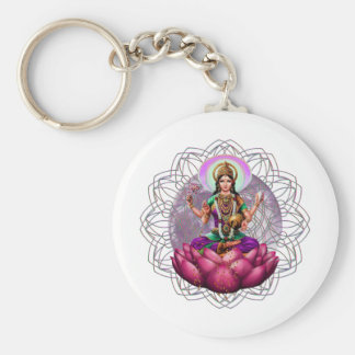 Goddess Lakshmi mandala Basic Round Button Key Ring