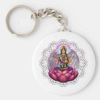 Goddess Lakshmi mandala Basic Round Button Key Ring