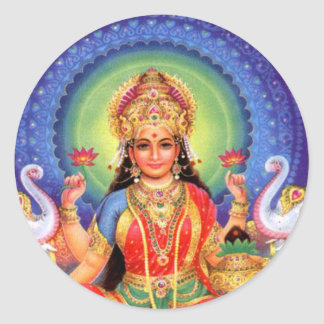 Goddess Lakshmi Mass Round Sticker