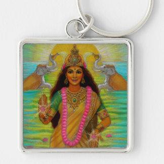 Goddess Lakshmi Silver-Colored Square Key Ring