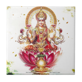 GODDESS LAKSHMI SMALL SQUARE TILE