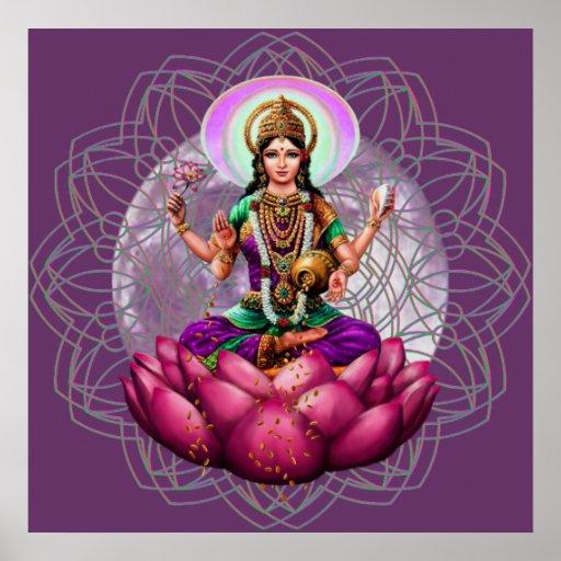 Goddess Lakshmi - wealth blessing mandala Print