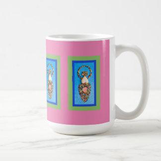 Goddess Mosaic in Green & Blue on Pink Coffee Mug