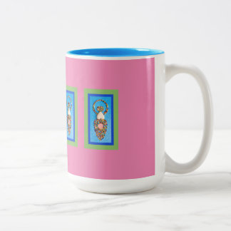 Goddess Mosaic in Green & Blue on Pink Two-Tone Coffee Mug