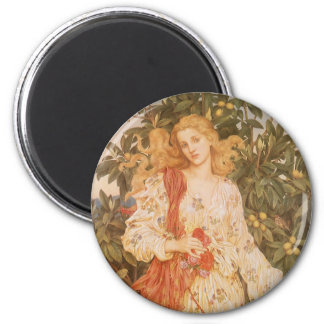 Goddess of Blossoms and Flowers, Flora by Morgan 6 Cm Round Magnet