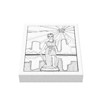 Goddess Of Liberty Line Art Design Canvas Print
