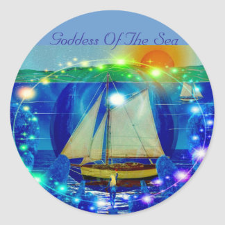 Goddess Of The Sea Round Sticker