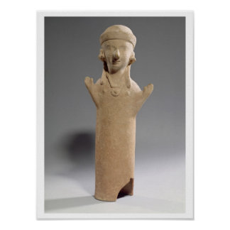 Goddess or worshipper with raised arms, figurine, print