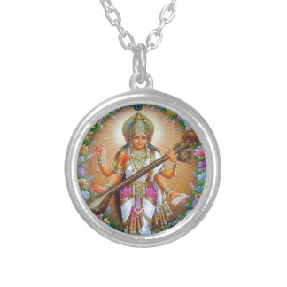 Goddess Saraswati Silver Plated Necklace