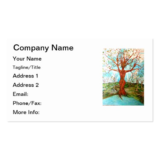 Goddess Tree Figure in Autumn Spiritual Painting Business Card